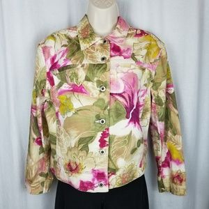 Caribbean Joe jacket size M pink green white